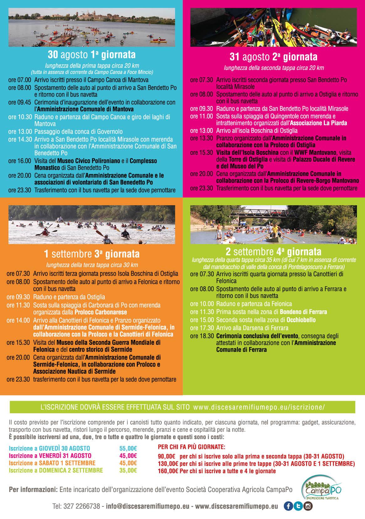 Programma della seconda discesa a remi Mantova Ferrara
